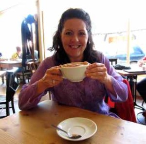 Having a cup of Spiritual Espresso in Glastonbury, England