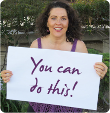 Jennifer Hadley with sign that says You can do this!