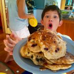 Mikey and I created a vision of buttermilk blueberry and walnut pancakes for breakfast!